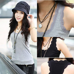 2013 spring and summer lace decoration tank basic shirt female spaghetti strap top female 100% cotton long design slim small(China (Mainland))
