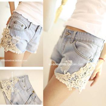 2013 summer female lace patchwork laciness vintage light color female denim shorts denim shorts