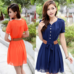 2013 women's slim suit medium skirt fashion patchwork female short-sleeve chiffon one-piece dress belt(China (Mainland))