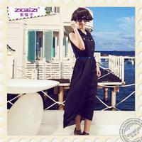 2013 spring ol gentlewomen slim belt sleeveless chiffon one-piece dress summer long skirt