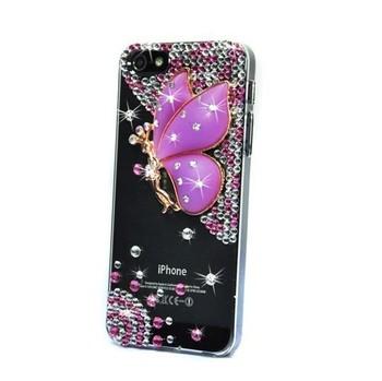 Free Ship Luxury Handmade 3D Angel and 3D Flower Element Design Rhinestone Diamond Bling Case Cover For Apple iPhone 5/5G 4S/4