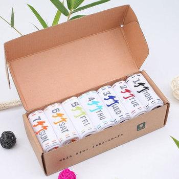 Free shipping 7 pairs/lot bamboo fiber sock seven days' men socks Creative colorful fashion week sock/Cowhide box weekly sox