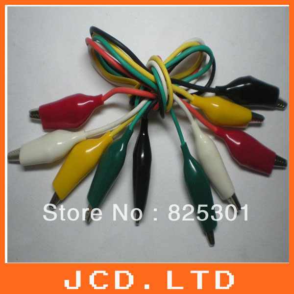 10pcs S 27mm Alligator Test Clip Lead line cable 5 colors 50cm Long White & Black & Red & Yellow & Green each 4pcs(China (Mainland))