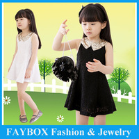 5pcs/lot,2013 new summer children fashion lovely bling bling collar sleeveless lace dress for girls!