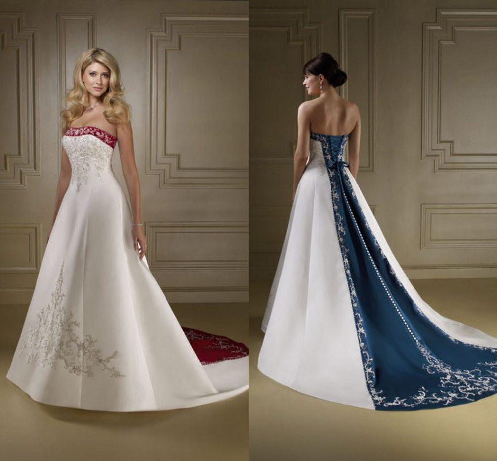 Vestidos de novia blanco con azul turquesa – Vestidos destacados