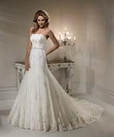 New Arrival Hot Sale Custom Made Mrermaid Bodice Lace Beade Noble White Wedding Dresses Wedding Gown