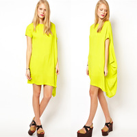 Haoduoyi asymmetrical sweep one shoulder short-sleeve chiffon lining one-piece dress 2 6 full