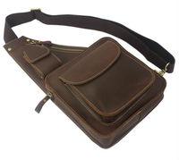Wholesale New 2014 Vintage Crazy horse Leather men messenger bag Shoulder bag genuine leather sling bag Men chest pack free ship