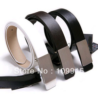 Free Dropshipping**Mens women's Adult White/Black/Brown Faux Leather Alloy Buckle New Waist Belt Strap  JX0076