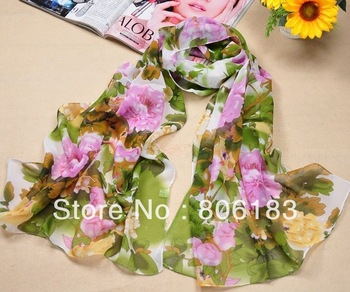 m1821 Wholesale Chiffon  Flower Scarf Spring and Summer Style Long Scar Many Colors Shawl Can Be Muslim Hijab Free Shipping