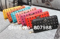 Free shipping!2013 NEW 7 COLOR Skull wallet clutch bag fashion  leather Women money/card hand clutch wallet/purse