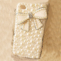 Free Ship New Butterfly BOW Bowknot Fashion Handmade Bling Jewerly Diamond Rhinestone Crystal Hard Case Cover For iPhone 4 4G 4S