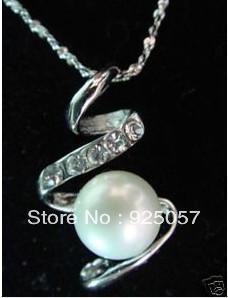 "Beautiful AAA 8-9mm White Akoya Pearl ""S"" Pendant Necklace"