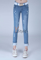 Free Shipping 2013 Excellent Water Wash Lace White Hole Pencil Nostalgic Light Blue Skinny Pants Women Cropped Demin Jeans
