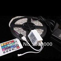 Promotion !!!5M RGB SMD 3528 Waterproof 300 LED Strip Light + 2A 12v Adapter + 24 Keys Remote Free Shipping 710028