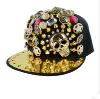 Free shipping caps,western men and women,Ghost head rivet hip-hop dance hat  fashion cap