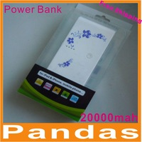 10pcs/lot Best Selling 20000mAh Universal Power Bank USB External Battery Charger Dual USB Output With Oriental Flower!