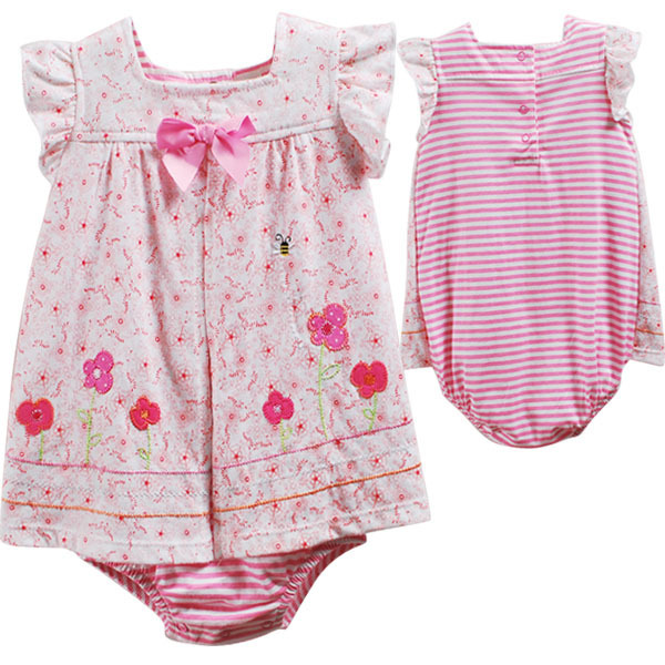 Original Carter's Baby Girls Dark Pink Flowers and Bee Model Cute Romper Dress(China (Mainland))