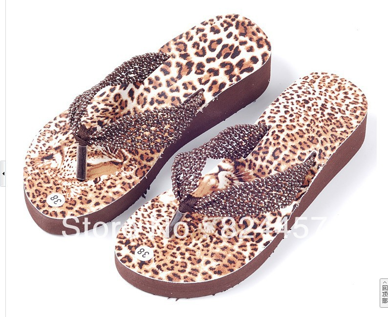 Free shipping 2013 summer designer shoes hollow-out leopard fashionable flip-flops wedges sandals(China (Mainland))