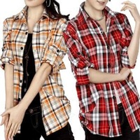 2013 100% women's cotton plaid shirt Women casual plaid shirt long-sleeve shirt women's plaid shirt female free shipping