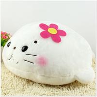 mamegoma Cartoon pillow kaozhen seal baby plush toy lumbar pillow cushion doll gift  free shipping
