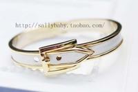 Brief buckle bracelet leather bracelet lovers bracelet female black and white gold and silver