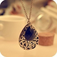 Fashion Europe vintaged classic dream black water drop necklace wholesale ! ! Free shipping