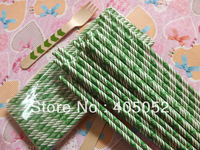 """EAT DRINK BE MERRY"" Printed Green Striped Paper Party Drinking Straws 361C-EAT DRINK BE MERRY 500pcs"