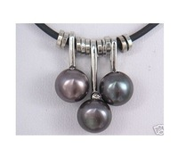 LUXURY natural south sea black pearl pendant necklace