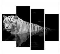 Hand-painted oil painting gallery huge black and white tiger canvas oil painting