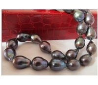 "18""12-14mm natural tahitian black green pearl necklace 14K"