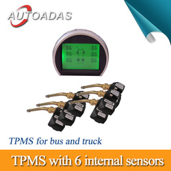 car TPMS for buys and truck,6 wheels,external sensors and internal sensors for option,PSI/BAR display,RS232 output connector(China (Mainland))