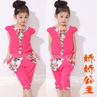 Children's clothing female child summer set short-sleeve shorts capris set child set 2 piece set
