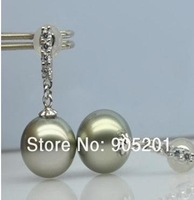 AAAA Tahiti 9-10 mmCultured Seawater Pearl Jewelry 925 silver  Drop Earrings (1 pairs)+Wholesale&amp;Retail+Free Fast Shipping