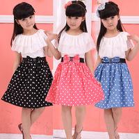 Children's clothing female girl one-piece 100% short-sleeve cotton dot child princess dress