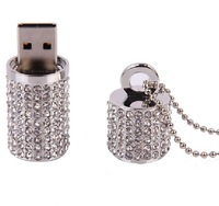 16gb 32gb 64gb 128gb crystal cylindrical usb flash drive rhinestone gift free shipping