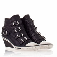 Womens Genial Ash Wedge Sneaker Black Leather