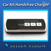 Multipoint Bluetooth Speakerphone Car Kit with Car Charger For Cellphone Free Shipping