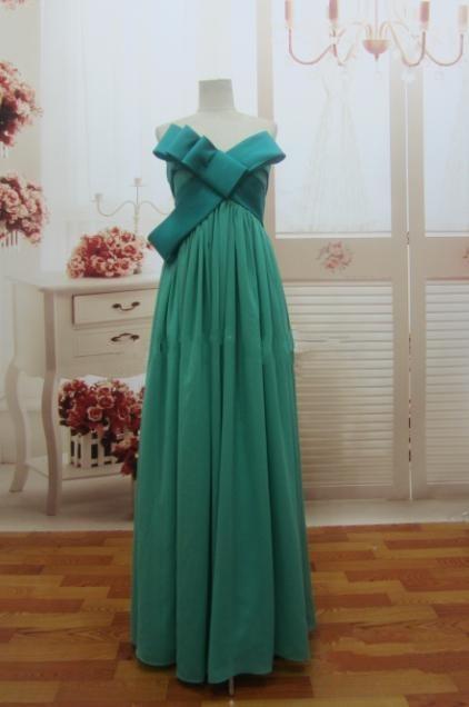 B002 Best Price Elegant Bowknot Green Chiffon Floor Length Long Real Sample Prom Dress 2015 Latest(China (Mainland))