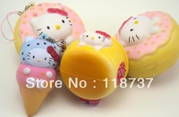 2013 new arrival cute kawaii hellokitty  squishy buns icecream +donut+puff face 6cm with original tag PU toy freeshipping