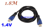 1PC, High Speed 1.8m 6ft HDMI Cable 1.4V 1080P HD w/ Ethernet 3D Ready HDTV 180cm,wholesales