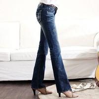 2011 women's korean stovepipe long slim bell bottom denim trousers