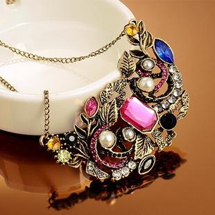 Min.order is $10 (mix order) 4079 necklace vintage multi-element gem necklace buyers show(China (Mainland))
