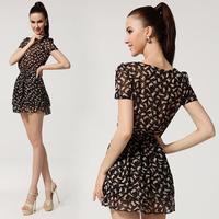 2013 New In Hot Sell Women's Chiffon Dresses Fashion Cute Cats Print Short Sleeves Flouncing Lap Slim Female Chiffon Dresses