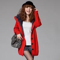 New arrival autumn and winter juniors clothing large thickening medium-long plus velvet cardigan sweater large