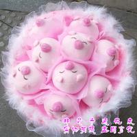 2013 New Gift Free shipping 9 pig doll dolls bouquet flowers cartoon bouquet doll bouquet birthday gift girls graduation gift