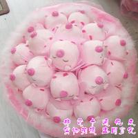 2013 New Gift Free shipping Cartoon bouquet pig doll bountyless toy flower birthday gift girls gift