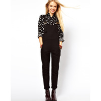 Metal hasp shoulder strap adjustable black one piece overalls female clothing trousers