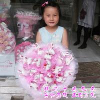 2013 New Gift Free shipping Cartoon bouquet rabbit doll bountyless birthday gift girls gift bride holding flowers