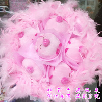 2013 New Gift Free shipping Cartoon bouquet pig doll bountyless birthday gift girls bride holding flowers day gift